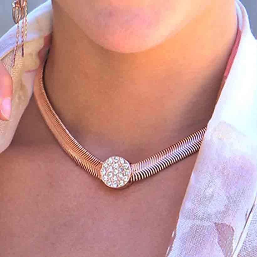 "Rose Gold And Crystal Magnetic Clasp Necklace 16"" *30sp - Click Image to Close"